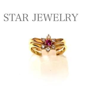 STAR JEWELRY - スタージュエリー  可憐♡ k18PG/YG ルビー ダイヤモンド セットリング