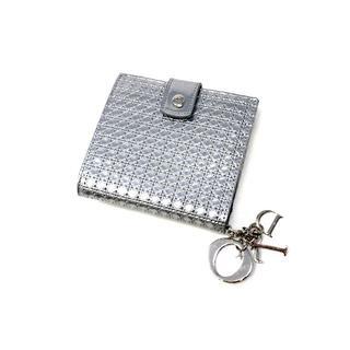 クリスチャンディオール(Christian Dior)のディオール レディディオール カナージュ コンパクトウォレット シルバー(財布)