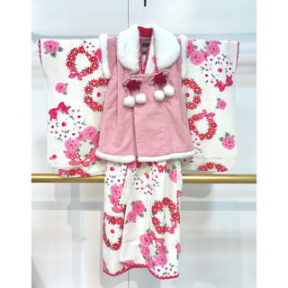 七五三 3歳 女児 ピンク被布白着物セット