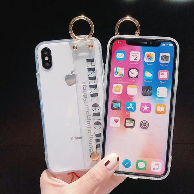 iPhone7/8 X/XS XR ハンドベルト付き クリアケースの通販 by エランドル's shop|ラクマ