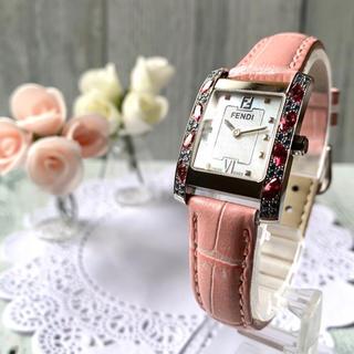 フェンディ(FENDI)の【美品】FENDI  腕時計 7000L  ビジュー シェル スクエア(腕時計)