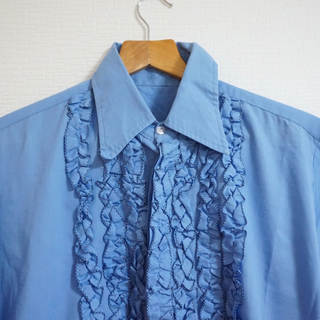 ヴィンテージ  フレンチ ワークシャツ ブラウス シャツ フリル フレンチ(シャツ/ブラウス(長袖/七分))