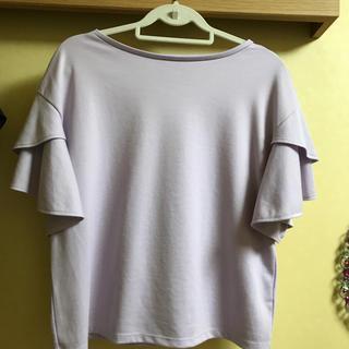 ジーユー(GU)のGU  フリルTシャツ  パープル L(Tシャツ/カットソー(半袖/袖なし))