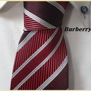 BURBERRY - 大人気★バーバリーBURBERRYS【高貴な光沢ストライプ】高級ネクタイ★
