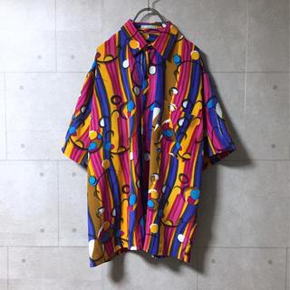 ザラ(ZARA)の古着 総柄シャツ オーバーサイズ ビックシルエット マルチカラー ストライプ(シャツ)