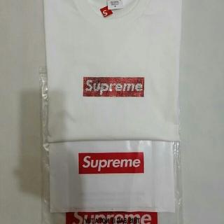 Supreme - supreme Swarovski Box Logo TeeホワイトM