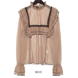 STYLENANDA -  party mesh dot frill blouse