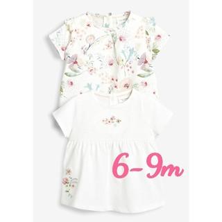 ネクスト(NEXT)の☆NEXT☆クリームフローラル&ホワイトTシャツ2枚セット6-9M(Tシャツ)