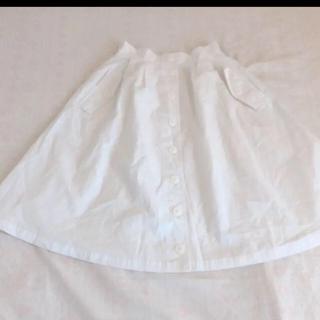 ジエンポリアム(THE EMPORIUM)のフロントボタン フレアスカート 白 膝丈 エンポリアム(ひざ丈スカート)