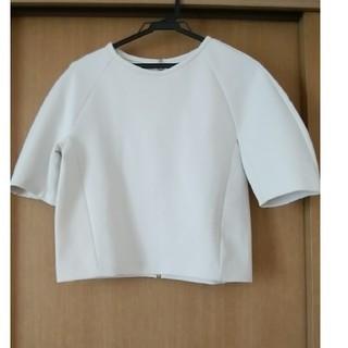 デミルクスビームス(Demi-Luxe BEAMS)の美品♪白トップス 後ろファスナー(カットソー(半袖/袖なし))