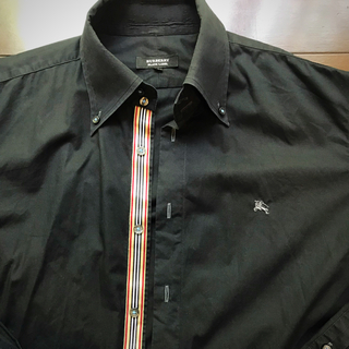 BURBERRY BLACK LABEL - BURBERY BLACK LABEL⭐️バーバリー  シャツ 黒 サイズL