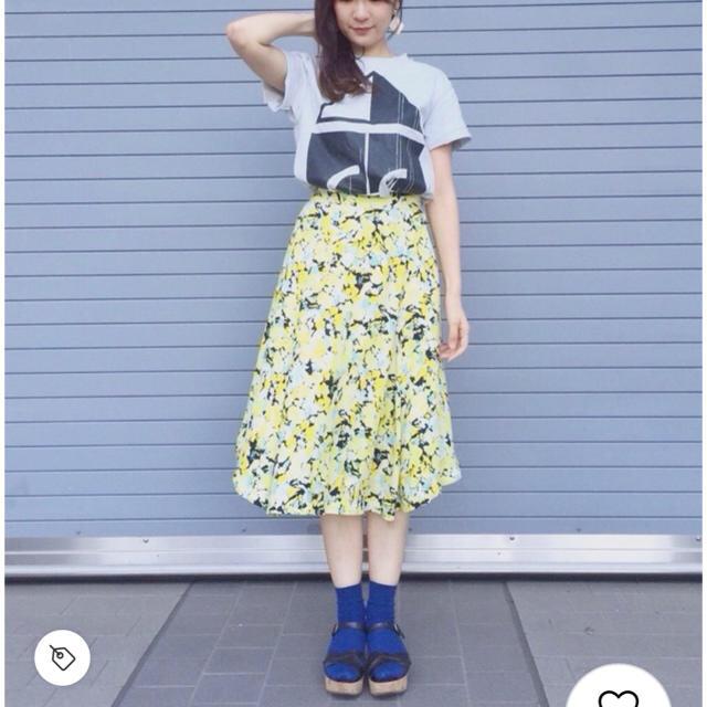FRAY I.D(フレイアイディー)のフレイアイディー  ミモレ丈 フラワーフレアスカート レディースのスカート(ロングスカート)の商品写真