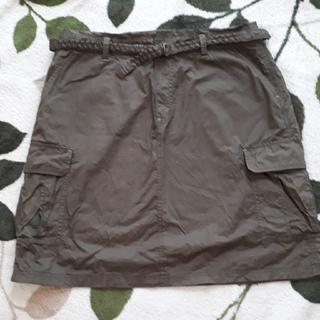 ベルメゾン(ベルメゾン)のベルト付き綿スカート カーキグリーン LL(ひざ丈スカート)