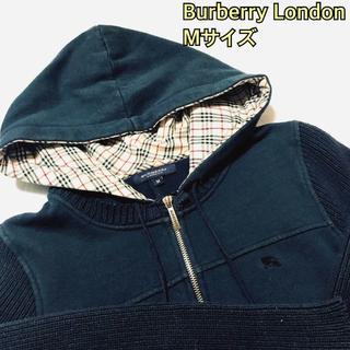 d3663cb2bae8 バーバリー(BURBERRY)のレディース バーバリーロンドン パーカー ニット 紺 騎馬 M(パーカー)