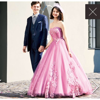 エメ(AIMER)のAIMER ピンク カラードレス+パニエのお得なセット(ウェディングドレス)