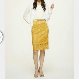 ジーユー(GU)のGU レース タイトスカート Mサイズ 黄色 イエロー(ひざ丈スカート)