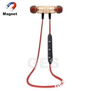 ★ゴールド&レッド マグネット付 Bluetooth ワイヤレス イヤホン