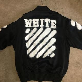 オフホワイト(OFF-WHITE)のOFF-WHITE ストライプスプレーボンバージャケット(ブルゾン)