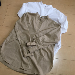 ユニクロ(UNIQLO)のUNIQLO エクストラファイン コットン スタンドカラー シャツ(シャツ/ブラウス(長袖/七分))