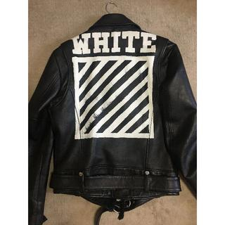 OFF-WHITE - OFF-WHITE 16AW ライダースジャケット バックバイアスプリント