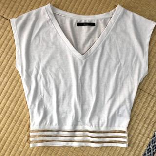 デュラス(DURAS)のデュラスDURASお腹チラ見えVネックカットソーTシャツ(Tシャツ(半袖/袖なし))