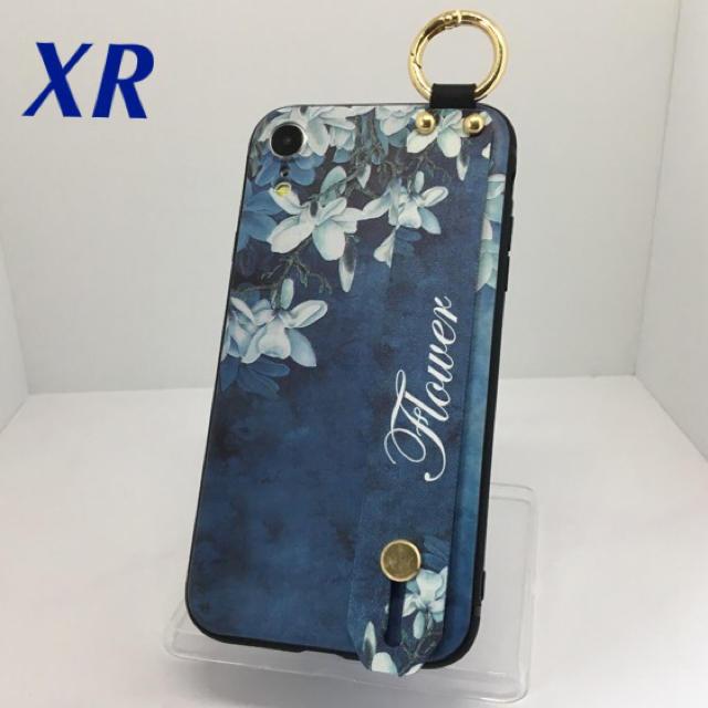 アイフォンXR iPhoneXRケース☆カラビナ付き☆送料無料☆背面ベルト☆青の通販 by ロゴ's shop|ラクマ