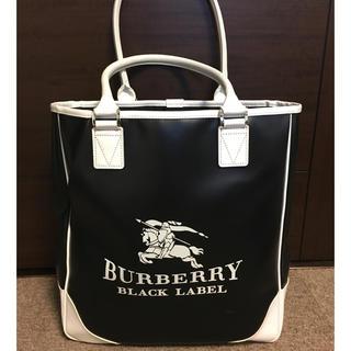 BURBERRY BLACK LABEL - バーバリー ブラックレーベル デカロゴ トート バッグ 美品