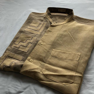 ART VINTAGE - 【古着】ベージュ バイカラー柄シャツ バンドカラーシャツ ポリエステル100%