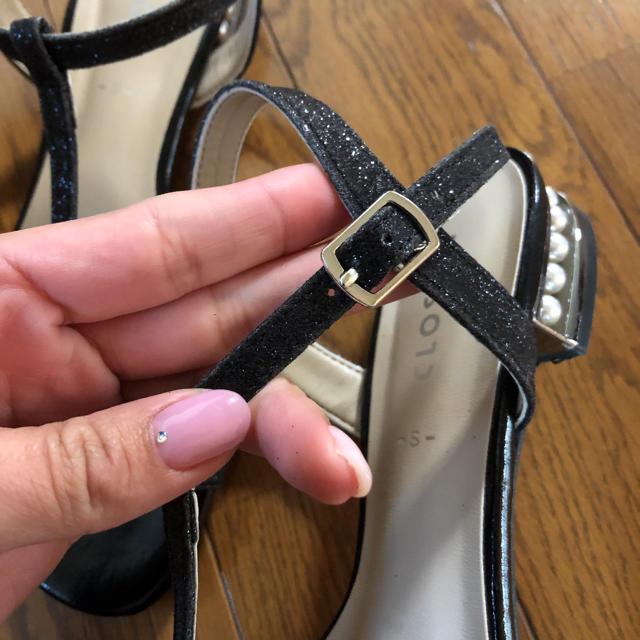 しまむら(シマムラ)のしまむら  パールヒール  ローヒール  サンダル   レディースの靴/シューズ(サンダル)の商品写真