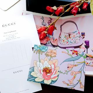 グッチ(Gucci)のGUCCI ノベルティー post card 《purple》(切手/官製はがき)