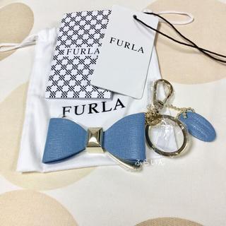 フルラ(Furla)の【新品未使用品】FURLA リボン キーリング キーホルダー ブルー(キーホルダー)