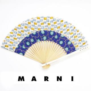マルニ(Marni)の新品 マルニ フラワーカフェ 扇子 シルク ケース ショッパー ブルー イエロー(その他)