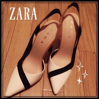 ザラ(ZARA)のZARA ザラ コントラスト デザイン ハイヒール 37 24.0 cm(ハイヒール/パンプス)