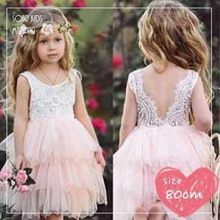 689eab5601622 アウトレット⭐ レースチュールドレス 80cm(90)海外子供服ピンク(セレモニー