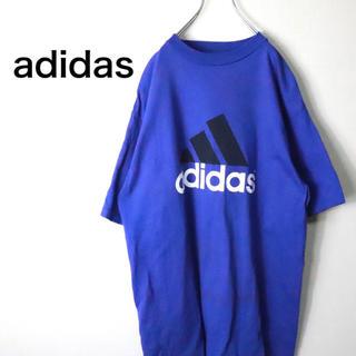 アディダス(adidas)のadidas アディダス Tシャツ 青 ブルー ビッグロゴ M(Tシャツ/カットソー(半袖/袖なし))