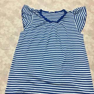 ジーユー(GU)のGUの青色ボーダーキッズTシャツ☆サイズ140(Tシャツ/カットソー)