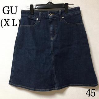 ジーユー(GU)のGU   Aライン デニムスカート(XL)(ひざ丈スカート)