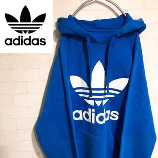 adidas - アディダス adidas パーカー トレフォイル ビッグロゴ  ブルー 90s