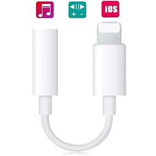 iPhone Lightning-3.5m 変換ケーブル★イヤホンアダプタ 白