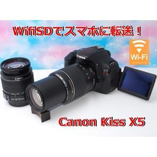 Canon - 【極上美品】液晶画面が動く♪キヤノン Kiss X5 ダブルセット★