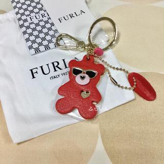 フルラ(Furla)の【新品未使用品】FURLA くま ベアー キーリング キーホルダー レッド系(キーホルダー)