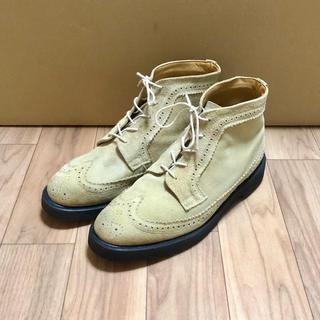 ジョージコックス(GEORGE COX)の良品 GEORGE COX ウイングチップ ブーツ UK8 スエード ベージュ(ブーツ)