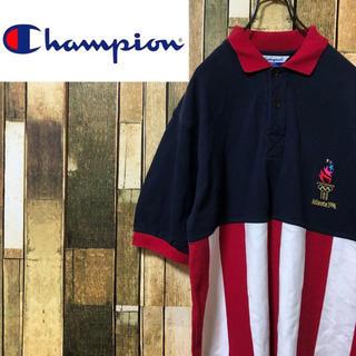 Champion - 【激レア】チャンピオン☆USA製アトランタ五輪切替太ストライプポロシャツ 90s