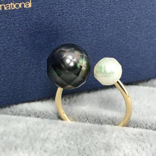 ◆グリーングラデ◆タヒチ&あこや 華パールリング(リング(指輪))