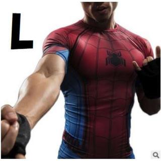 L 半袖 スパイダーマン Tシャツ スポーツ ティーシャツ アメコミ メンズ