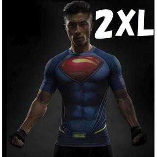 2XL 半袖 スーパーマン Tシャツ スポーツ トレーニング アメコミ メンズ