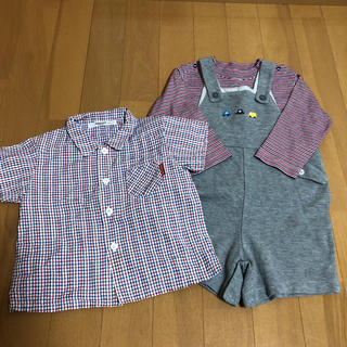 ファミリア(familiar)の超お得♡ ファミリア オーバーオール 長袖 半袖 3点セット(ロンパース)