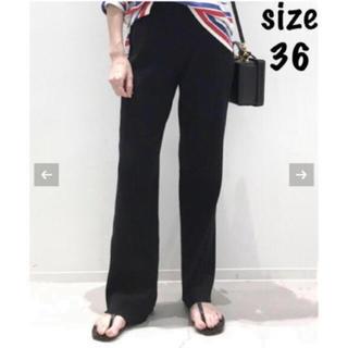 アパルトモンドゥーズィエムクラス(L'Appartement DEUXIEME CLASSE)のL'Appartement Rib Knit パンツ 36 ブラック 新品タグ付(カジュアルパンツ)