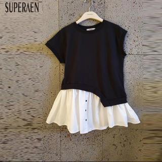 ZARA - バイカラー  ペプラムトップス レイヤードTシャツ フリル 裾