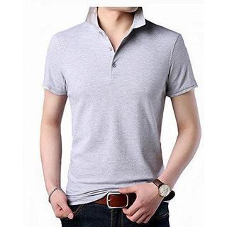 ポロシャツ メンズ 半袖 カジュアル ゴルフ グレー XXL(ポロシャツ)
